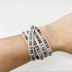 Chan Luu | White Leather Beaded Wrap Bracelet